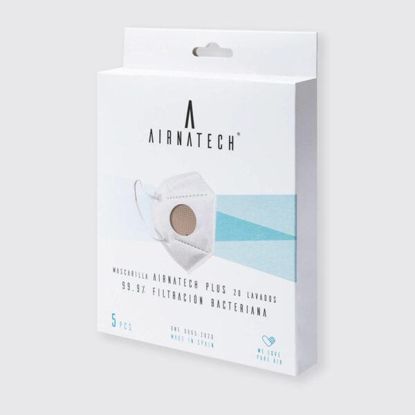 pack 5 mascarillas higienicas reutilizables airnatech plus beige