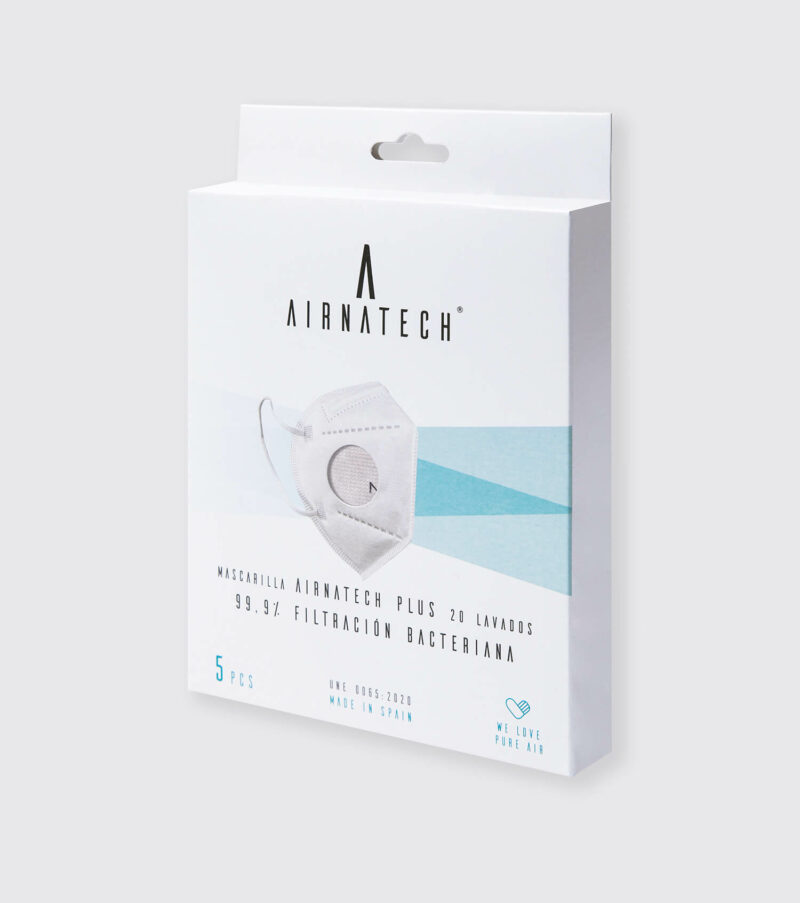 pack 5 mascarillas higienicas reutilizables airnatech plus gris