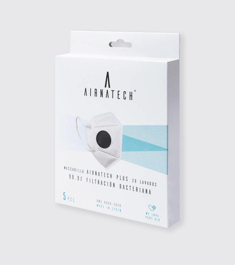 pack 5 mascarillas higienicas reutilizables airnatech plus negras