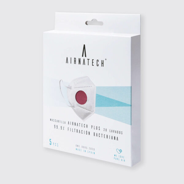 pack 5 mascarillas higienicas reutilizables airnatech plus granate