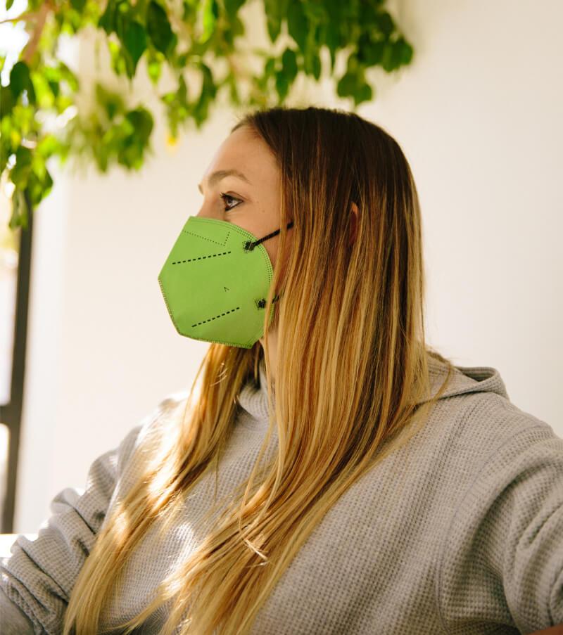 mascarilla higienica reutilizable airnatech plus verde pistacho mujer