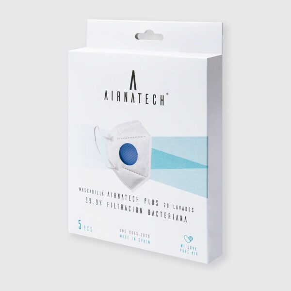 pack 5 mascarillas higienicas reutilizables airnatech plus azul almirante