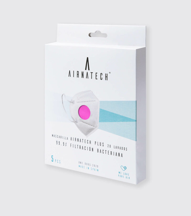 pack 5 mascarillas higienicas reutilizables airnatech plus fucsia