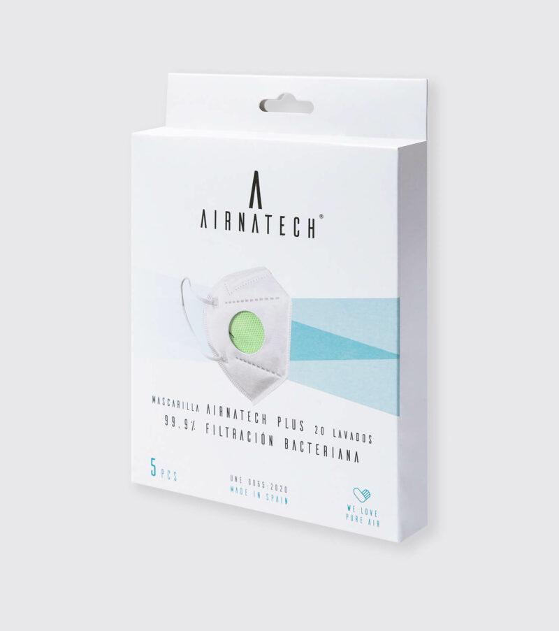 pack 5 mascarillas higienicas reutilizables airnatech plus verde pistacho