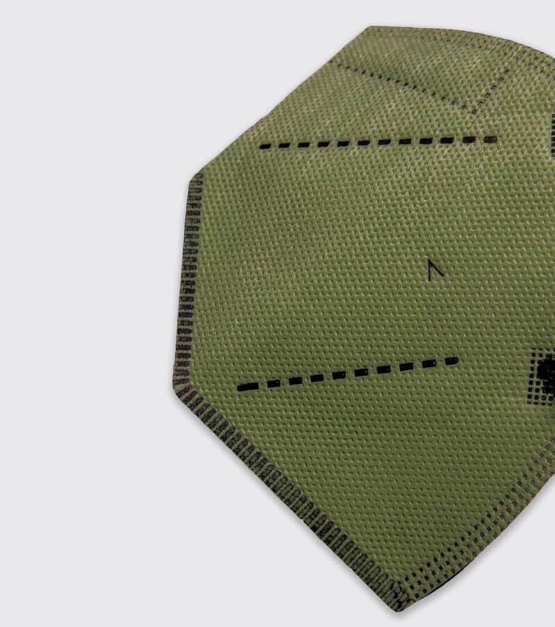 mascarilla higienica reutilizable airnatech plus verde militar detalle