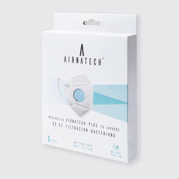 pack 5 mascarillas higienicas reutilizables airnatech plus azul celeste