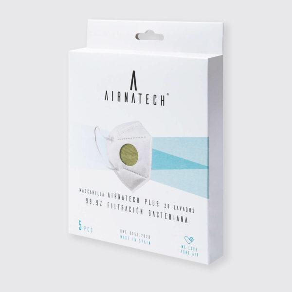 pack 5 mascarillas higienicas reutilizables airnatech plus verde militar